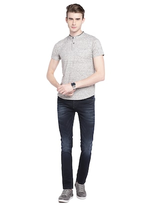 blue cotton washed jeans - 15930478 - Standard Image - 4