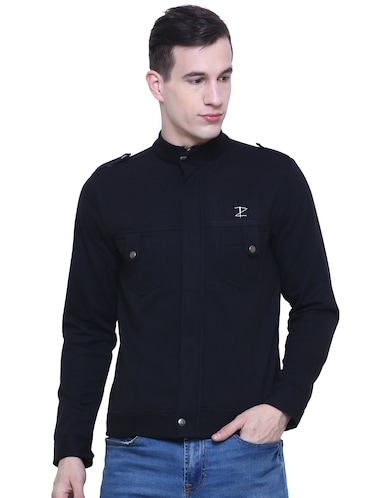 black cotton casual jacket - 15933780 - Standard Image - 1