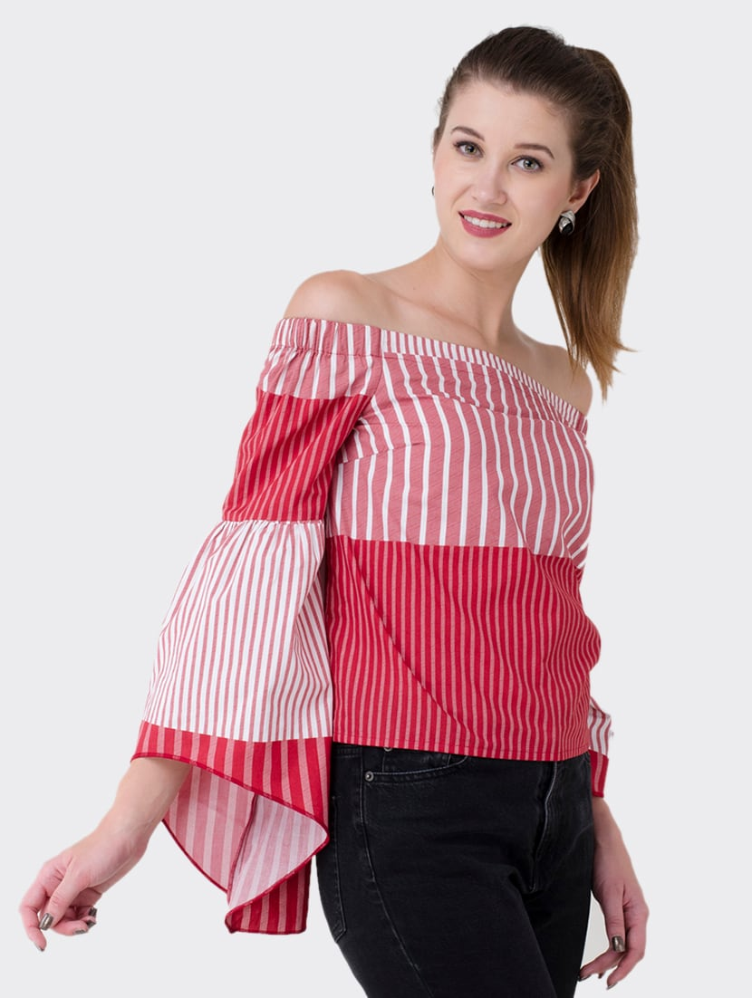 2b73d835340 Buy Bell Sleeved Striped Off Shoulder Top for Women from Bahrupiya Clothing  for ₹1199 at 40% off | 2019 Limeroad.com