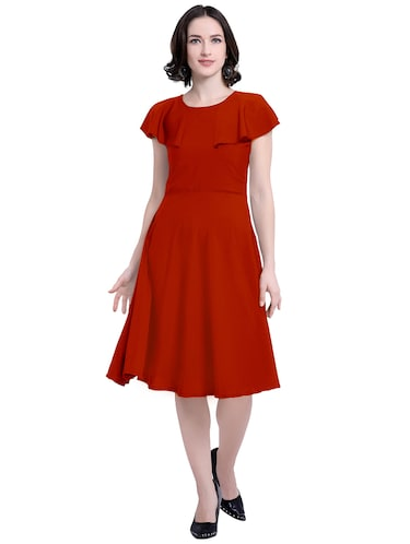 ruffle sleeved a-line dress - 15941105 - Standard Image - 1