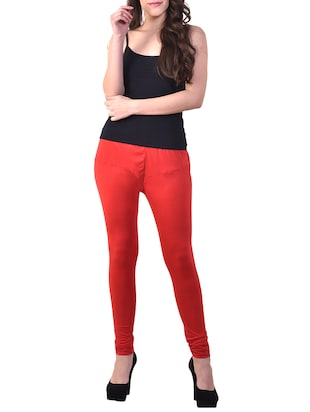 candy red solid legging - 15944306 - Standard Image - 4