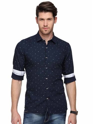 navy blue printed casual shirt - 15946166 - Standard Image - 1