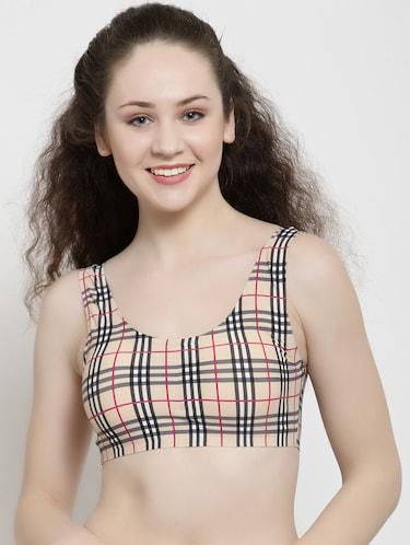 scoop neck checkered sports bra - 15948738 - Standard Image - 1