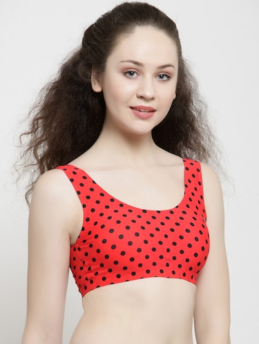scoop neck polka dots sports bra - 15948742 - Standard Image - 1