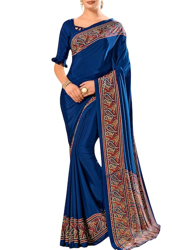 paisley printed saree with blouse - 15972015 - Standard Image - 1