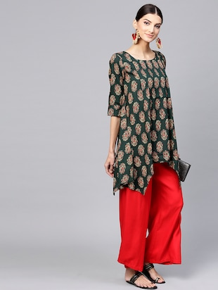 Printed High low kurta - 15973540 - Standard Image - 4
