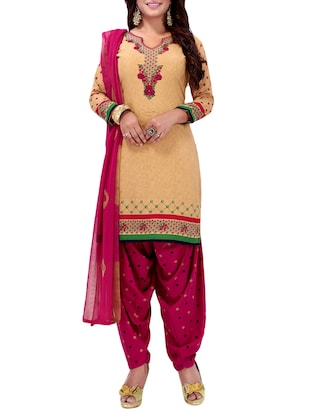 Printed unstitched combo suit - 15975522 - Standard Image - 4