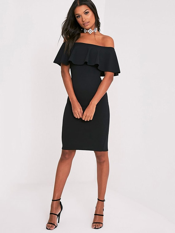 cb246b9d14 Buy Ruffled Off Shoulder Bodycon Dress by I Wear My Style - Online shopping  for Dresses in India
