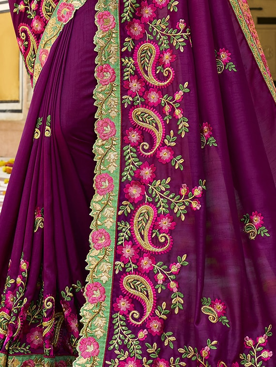 a73b337657 Buy Floral Purple Embroidered Saree With Blouse for Women from Shimeroo  Fashion for ₹7811 at 31% off   2019 Limeroad.com