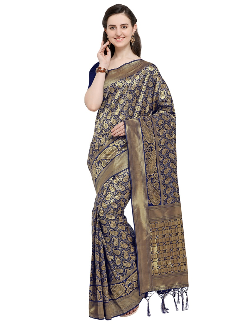 e7039764e8 Buy Paisley Zari Motif Blue Banarasi Saree With Blouse by Saree Swarg -  Online shopping for Sarees in India | 15984935