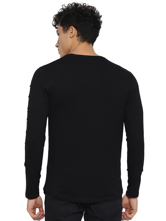 a3e4233cb7b3b2 Buy Black Printed Ripped T-shirt for Men from Campus Sutra for ₹570 at 48%  off | 2019 Limeroad.com
