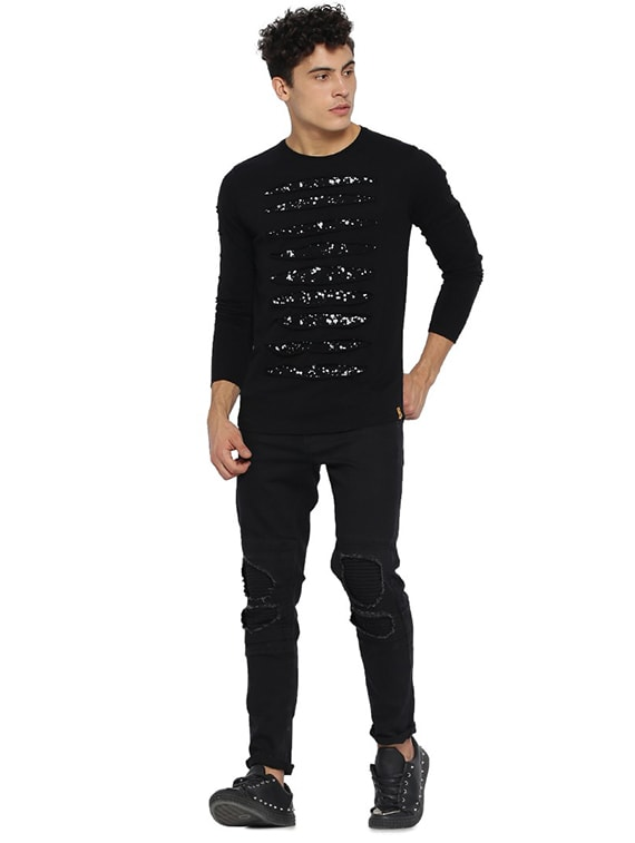 d5d6a148dca363 Buy Black Printed Ripped T-shirt for Men from Campus Sutra for ₹570 ...