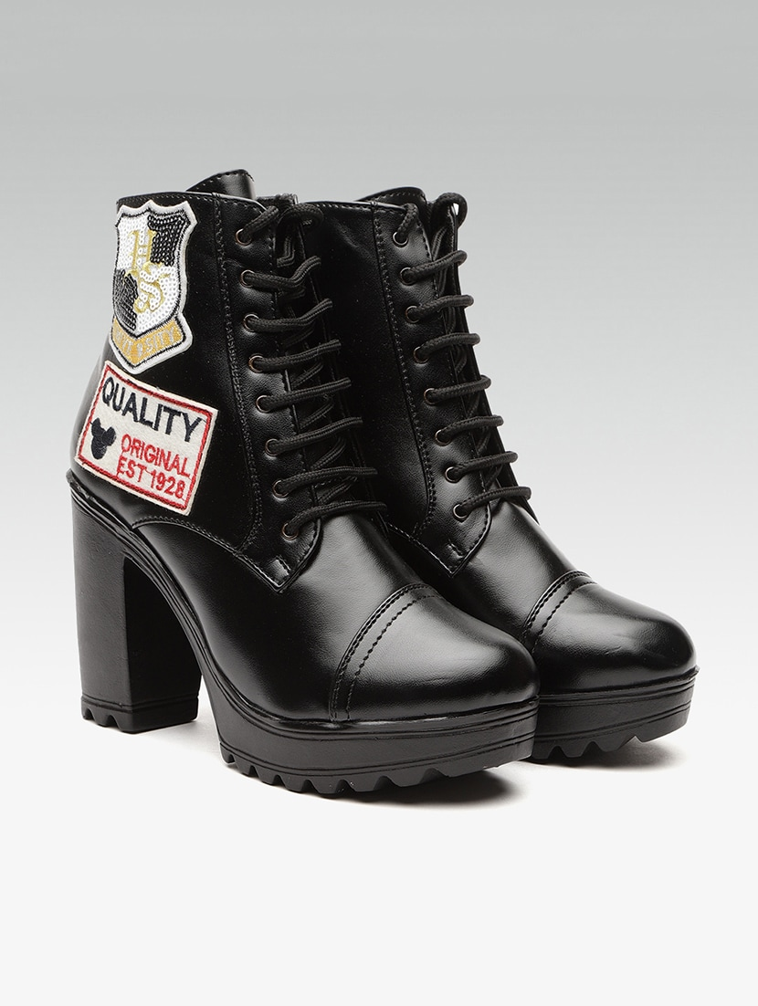 black ankle lace up boots