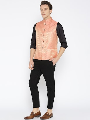 orange silk nehru jacket - 16003263 - Standard Image - 4