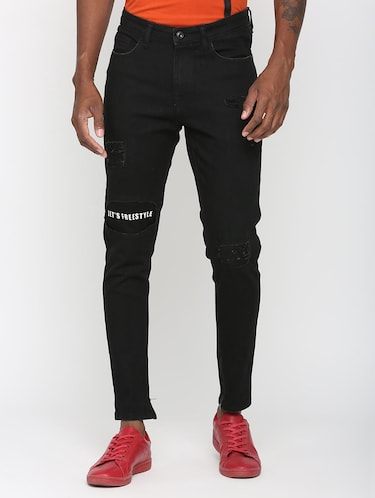 black denim patched jeans - 16003689 - Standard Image - 1