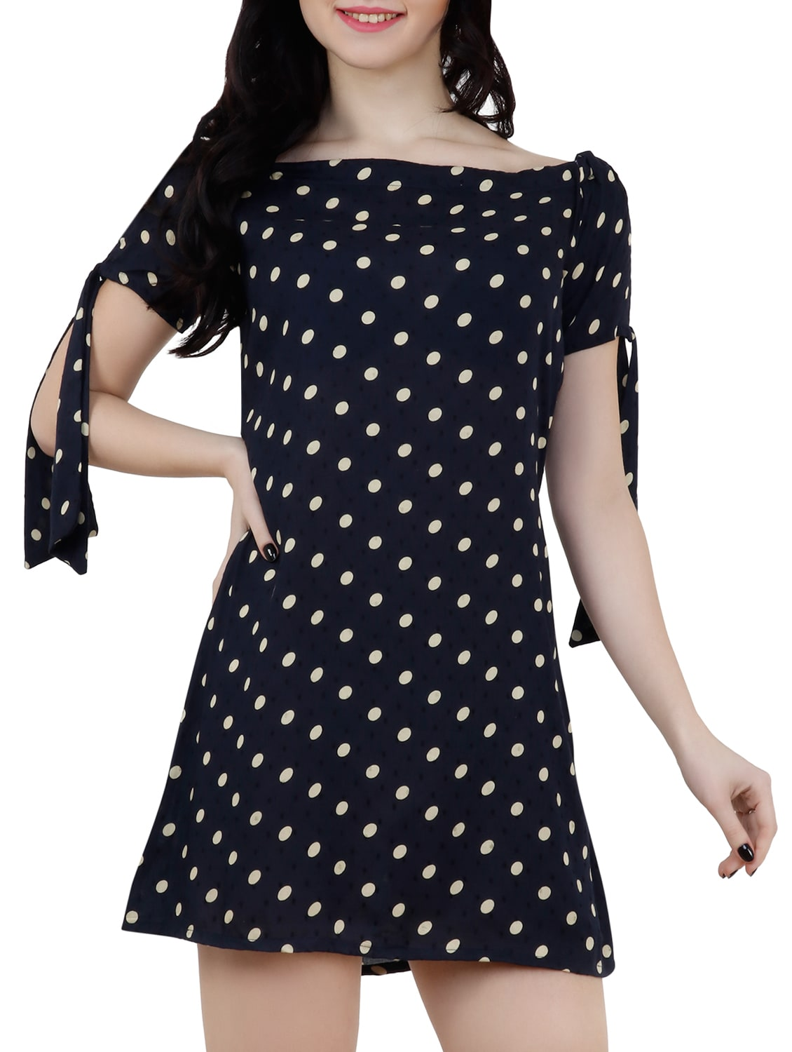 7b3744bbf4 Buy Boat Neck Polka Dots A-line Dress by Capybara - Online shopping for  Dresses in India