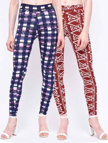 b5d9063c7eec8 Buy Set Of 2 Multi Colored Jegging for Women from Oleva for ₹687 at ...