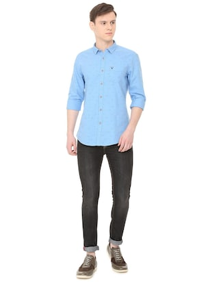 blue cotton casual shirt - 16040249 - Standard Image - 4