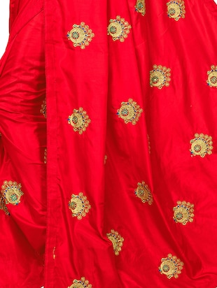 conversational zari red embroidered saree with blouse - 16040772 - Standard Image - 4
