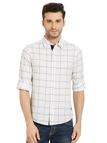 white checkered casual shirt - 16042882 - Standard Image - 1