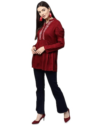 Embroidered solid kurti - 16057992 - Standard Image - 4