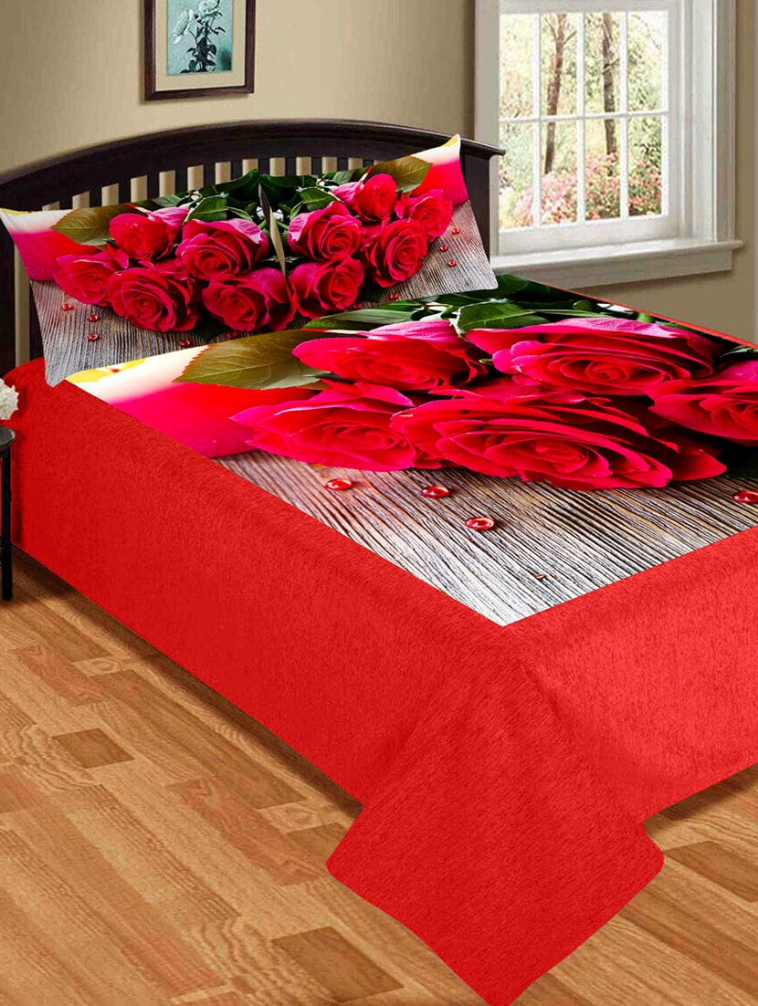 b9250bd32e Velvet King Size Double Bed Sheet With 2 Pillow Covers
