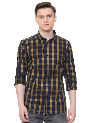 navy blue checkered casual shirt - 16061513 - Standard Image - 1