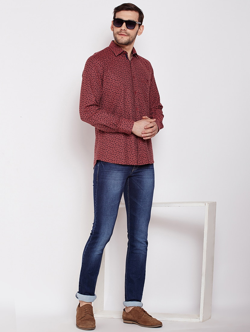 81609495 Buy Red Floral Printed Casual Shirt for Men from Crimsoune Club for ...
