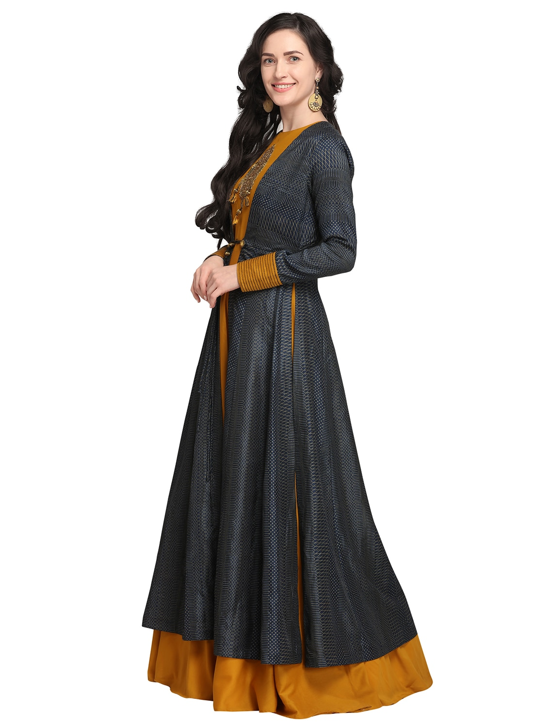 0e8c7173466efe Buy Mustard Applique Flared Gown With Printed Jacket for Women from Stylee  Lifestyle for ₹3490 at 64% off | 2019 Limeroad.com