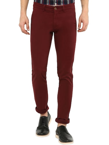 maroon solid chinos - 16065807 - Standard Image - 1