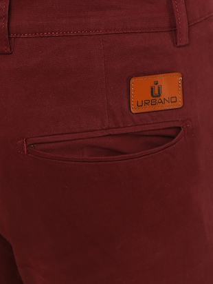 maroon solid chinos - 16065807 - Standard Image - 4