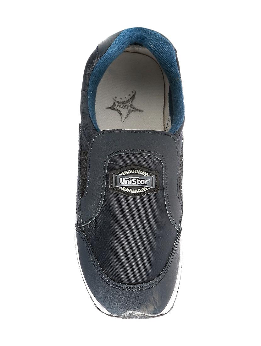 Blue Leatherette Slip On Sport Shoes
