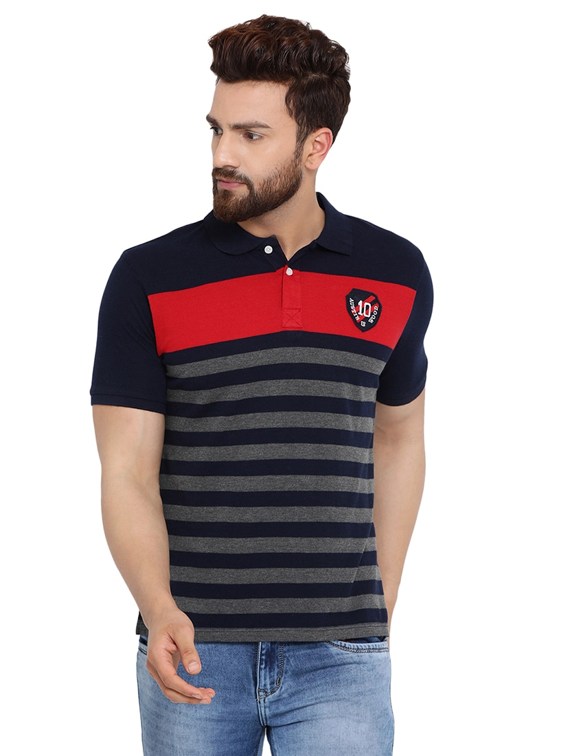 e02984b6 Buy Navy Blue Striped Polo Tshirt for Men from Austin Wood for ₹360 at 64%  off | 2019 Limeroad.com