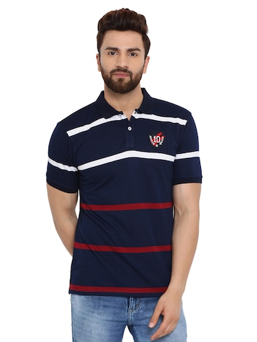 navy blue striped polo t-shirt  - 16078030 - Standard Image - 1