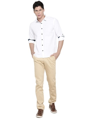 white solid casual shirt - 16086830 - Standard Image - 4