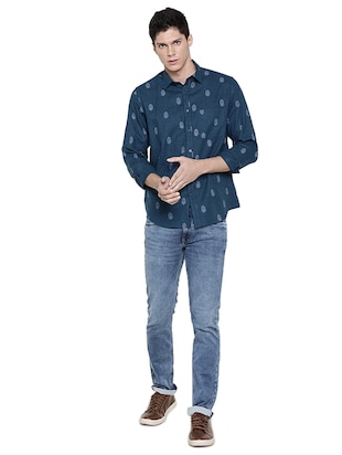 blue printed casual shirt - 16086869 - Standard Image - 4