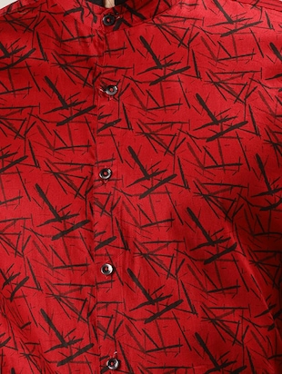 red printed casual shirt - 16089606 - Standard Image - 4
