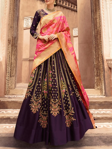 floral embroidered flared lehenga - 16091254 - Standard Image - 1