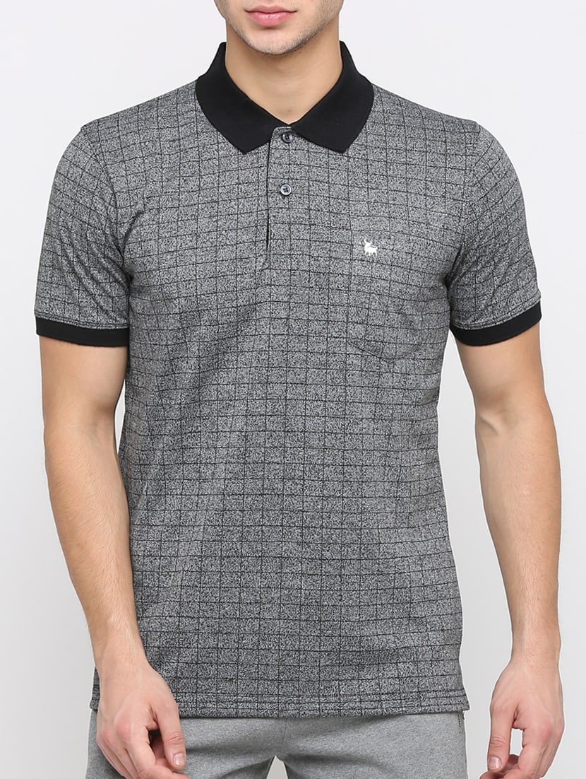 08f7d549 Buy Grey Checkered Polo T-shirt for Men from Bullmer for ₹441 at 56% off |  2019 Limeroad.com
