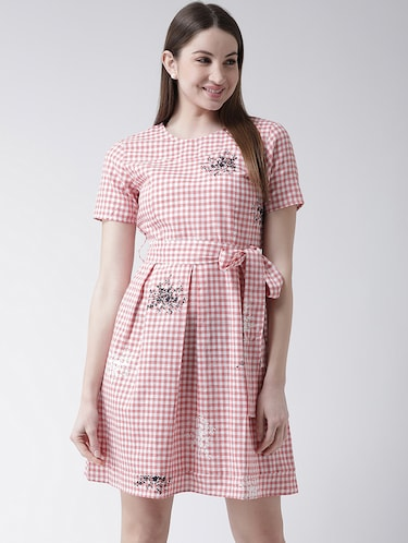 checkered pleated a-line dress - 16094188 - Standard Image - 1