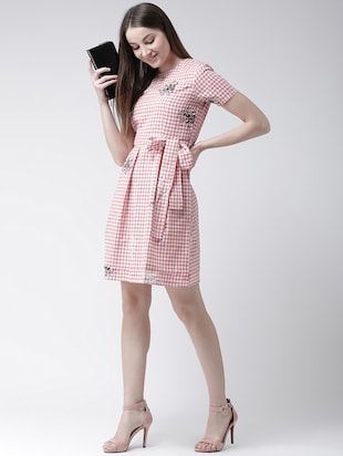 checkered pleated a-line dress - 16094188 - Standard Image - 4