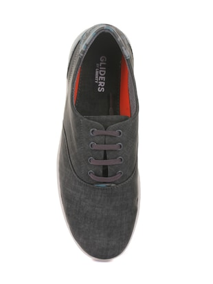 grey synthetic lace up sneakers - 16096737 - Standard Image - 4