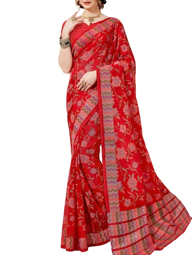Floral printed saree with blouse - 16097648 - Standard Image - 1