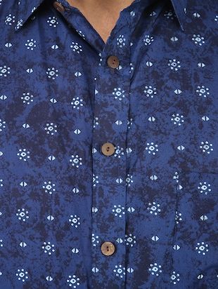 blue printed casual shirt - 16098795 - Standard Image - 4