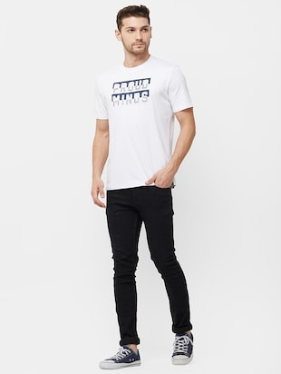 white typographic chest print t-shirt - 16099997 - Standard Image - 4