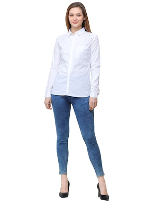 pocket patch pearl embellished shirt - 16104489 - Standard Image - 4