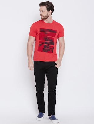 red front print t-shirt - 16105903 - Standard Image - 4