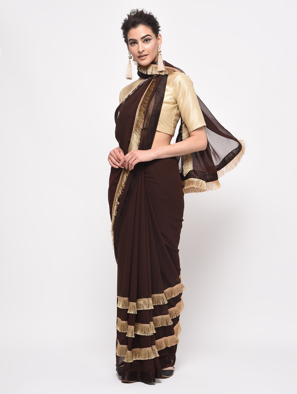 d48a12b5358 Buy Fringe Lace Border Fusion Saree With Blouse for Women from Aaena for  ₹832 at 45% off