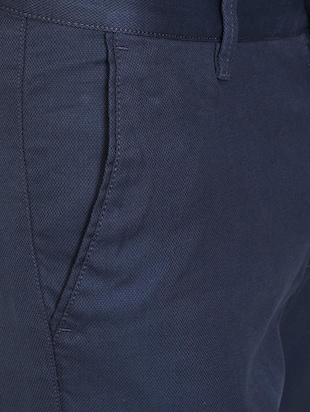 blue textured chinos - 16106841 - Standard Image - 4