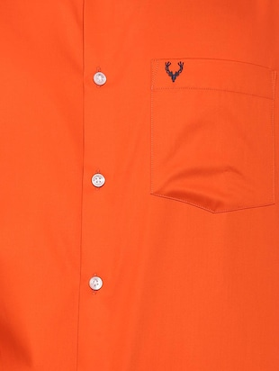 orange solid casual shirt - 16107182 - Standard Image - 4